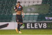 12 March 2021; Sonni Nattestad of Dundalk leaves the pitch after receiving a red card during the FAI President's Cup Final match between Shamrock Rovers and Dundalk at Tallaght Stadium in Dublin. Photo by Harry Murphy/Sportsfile