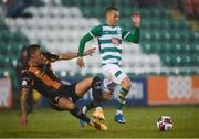 12 March 2021; Sonni Nattestad of Dundalk tackles Graham Burke of Shamrock Rovers, resulting in a red card, during the FAI President's Cup Final match between Shamrock Rovers and Dundalk at Tallaght Stadium in Dublin. Photo by Stephen McCarthy/Sportsfile