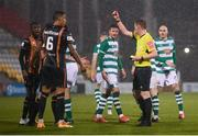 12 March 2021; Referee Damien McGrath issues a red card to Sonni Nattestad, 6, of Dundalk during the FAI President's Cup Final match between Shamrock Rovers and Dundalk at Tallaght Stadium in Dublin. Photo by Stephen McCarthy/Sportsfile