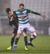 12 March 2021; Graham Burke of Shamrock Rovers in action against Darragh Leahy of Dundalk during the FAI President's Cup Final match between Shamrock Rovers and Dundalk at Tallaght Stadium in Dublin. Photo by Harry Murphy/Sportsfile