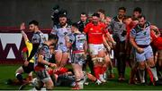 12 March 2021; Billy Holland of Munster, centre, celebrates after his side scored their fourth try during the Guinness PRO14 match between Munster and Scarlets at Thomond Park in Limerick. Photo by Ramsey Cardy/Sportsfile
