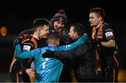 12 March 2021; Dundalk goalkeeper Alessio Abibi celebrates with Dundalk coaches Filippo Giovagnoli, centre, Giuseppi Rossi and team-mates Darragh Leahy, left, and Raivis Jurkovskis following the FAI President's Cup Final match between Shamrock Rovers and Dundalk at Tallaght Stadium in Dublin. Photo by Stephen McCarthy/Sportsfile