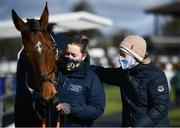 13 March 2021; Trainer Denise Foster, right, and handler Sinéad O'Brien after sending out Coqolino to win the Navan Members Maiden Hurdle (Div 1) at Navan Racecourse in Meath. Photo by Harry Murphy/Sportsfile