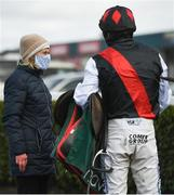 13 March 2021; Trainer Denise Foster, left, speaks with jockey Jack Kennedy after sending out Robinstown to win the Navan Members Maiden Hurdle (Div 2) at Navan Racecourse in Meath. Photo by Harry Murphy/Sportsfile