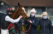 13 March 2021; Trainer Denise Foster, right, with handler Kerry Lee, centre, and jockey Jack Kennedy after sending out Robinstown to win the Navan Members Maiden Hurdle (Div 2) at Navan Racecourse in Meath. Photo by Harry Murphy/Sportsfile