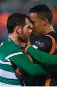 12 March 2021; Chris McCann of Shamrock Rovers and Sonni Nattestad of Dundalk during the FAI President's Cup Final match between Shamrock Rovers and Dundalk at Tallaght Stadium in Dublin. Photo by Stephen McCarthy/Sportsfile