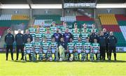 13 March 2021; The Shamrock Rovers squad and staff, back row, from left, Danny Mandroiu, Sean Hoare, Sean Gannon, Darragh Nugent, Dylan Watts, Sean Kavanagh and Max Murphy, middle row, Shamrock Rovers sporting director Stephen McPhail, coach Glenn Cronin, kitman Malcolm Slattery, Liam Scales, Aaron Greene, Alan Mannus, Leon Pohls, Rory Gaffney, Neil Farrugia, strength & conditioning coach Darren Dillon, John Cregan, physiotherapist Tony McCarthy, goalkeeping coach Jose Ferrer, with, front row, Joey O'Brien, Graham Burke, Lee Grace, Ronan Finn, manager Stephen Bradley, Roberto Lopes, Chris McCann, Gary O'Neill and Dean Williams ahead of the 2021 SSE Airtricity League Premier Division season at Tallaght Stadium in Dublin. Photo by Stephen McCarthy/Sportsfile