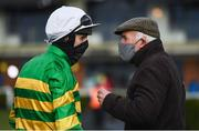 13 March 2021; Jockey Mark Walsh, left, speaks with trainer Ted Walsh after sending out Any Second Now to win the Webster Cup Steeplechase at Navan Racecourse in Meath. Photo by Harry Murphy/Sportsfile