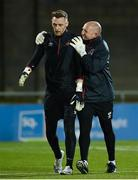12 March 2021; Dundalk goalkeeping coach Graham Byas with Peter Cherrie, left, before the FAI President's Cup Final match between Shamrock Rovers and Dundalk at Tallaght Stadium in Dublin. Photo by Stephen McCarthy/Sportsfile