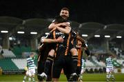 12 March 2021; Andy Boyle celebrates with Dundalk team-mate Sonni Nattestad after scoring their side's goal during the FAI President's Cup Final match between Shamrock Rovers and Dundalk at Tallaght Stadium in Dublin. Photo by Stephen McCarthy/Sportsfile