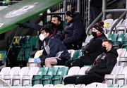 12 March 2021; Dundalk coach Filippo Giovagnoli speaks with Dundalk coach Giuseppi Rossi in the stand during the FAI President's Cup Final match between Shamrock Rovers and Dundalk at Tallaght Stadium in Dublin. Photo by Harry Murphy/Sportsfile