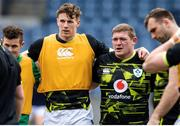 14 March 2021; Ireland players, from left, Billy Burns, Ryan Baird and Tadhg Furlong ahead of the Guinness Six Nations Rugby Championship match between Scotland and Ireland at BT Murrayfield Stadium in Edinburgh, Scotland. Photo by Paul Devlin/Sportsfile