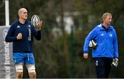 15 March 2021; Devin Toner, left, and head coach Leo Cullen during Leinster Rugby Squad Training at UCD in Dublin.  Photo by Ramsey Cardy/Sportsfile