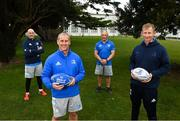 16 March 2021; The Leinster coaching team, from left, backs coach Felipe Contepomi, senior coach Stuart Lancaster, scrum coach Robin McBryde and head coach Leo Cullen at Leinster Rugby Headquarters in Dublin. Leinster Rugby and the IRFU have confirmed a new contract for Leinster Rugby Head Coach Leo Cullen. In addition to Leo Cullen's contract, Leinster Rugby have also confirmed new contracts for Stuart Lancaster, Felipe Contepomi and Robin McBryde. Cullen, who first took over in August 2015, won 32 Ireland caps and 221 Leinster caps during an illustrious playing career before moving into coaching. Since taking over as Head Coach he has led Leinster Rugby to a Heineken Champions Cup and three Guinness PRO14 titles. Photo by Ramsey Cardy/Sportsfile