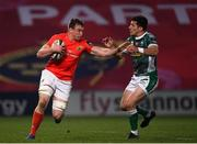 19 March 2021; Tommy O'Donnell of Munster is tackled by Tommaso Allan of Benetton during the Guinness PRO14 match between Munster and Benetton at Thomond Park in Limerick. Photo by Matt Browne/Sportsfile