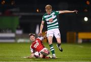 19 March 2021; Liam Scales of Shamrock Rovers is tackled by Billy King of St Patrick's Athletic during the SSE Airtricity League Premier Division match between Shamrock Rovers and St Patrick's Athletic at Tallaght Stadium in Dublin. Photo by Harry Murphy/Sportsfile