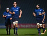 19 March 2021; Leinster players, from left, Michael Bent, Devin Toner and Scott Fardy during the Guinness PRO14 match between Leinster and Ospreys at RDS Arena in Dublin. Photo by Ramsey Cardy/Sportsfile