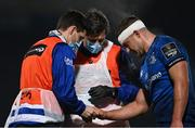 19 March 2021; Scott Penny of Leinster receives medical attention for an injury during the Guinness PRO14 match between Leinster and Ospreys at RDS Arena in Dublin. Photo by Piaras Ó Mídheach/Sportsfile