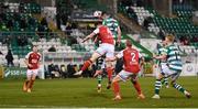 19 March 2021; Aaron Greene of Shamrock Rovers heads his side's first goal during the SSE Airtricity League Premier Division match between Shamrock Rovers and St Patrick's Athletic at Tallaght Stadium in Dublin. Photo by Stephen McCarthy/Sportsfile