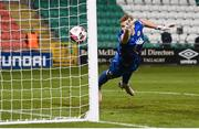 19 March 2021; St Patrick's Athletic goalkeeper Vitezslav Jaros is beaten by a header on goal by Aaron Greene of Shamrock Rovers during the SSE Airtricity League Premier Division match between Shamrock Rovers and St Patrick's Athletic at Tallaght Stadium in Dublin. Photo by Stephen McCarthy/Sportsfile