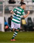 19 March 2021; Aaron Greene of Shamrock Rovers celebrates after scoring his side's first goal during the SSE Airtricity League Premier Division match between Shamrock Rovers and St Patrick's Athletic at Tallaght Stadium in Dublin. Photo by Stephen McCarthy/Sportsfile