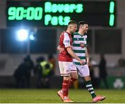 19 March 2021; Jamie Lennon of St Patrick's Athletic and Aaron Greene of Shamrock Rovers embrace following the SSE Airtricity League Premier Division match between Shamrock Rovers and St Patrick's Athletic at Tallaght Stadium in Dublin. Photo by Harry Murphy/Sportsfile