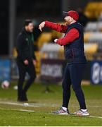 19 March 2021; St Patrick's Athletic head coach Stephen O'Donnell and Shamrock Rovers manager Stephen Bradley during the SSE Airtricity League Premier Division match between Shamrock Rovers and St Patrick's Athletic at Tallaght Stadium in Dublin. Photo by Harry Murphy/Sportsfile
