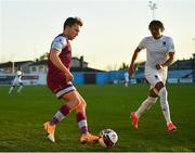 19 March 2021; Darragh Markey of Drogheda United in action against Jamie Mascoll of Waterford during the SSE Airtricity League Premier Division match between Drogheda United and Waterford at Head In The Game Park in Drogheda, Louth. Photo by Seb Daly/Sportsfile