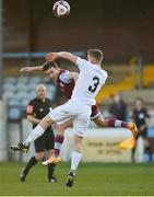 19 March 2021; Darragh Markey of Drogheda United in action against Cameron Evans of Waterford during the SSE Airtricity League Premier Division match between Drogheda United and Waterford at Head In The Game Park in Drogheda, Louth. Photo by Seb Daly/Sportsfile