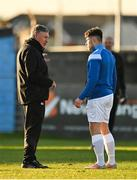 19 March 2021; Waterford manager Kevin Sheedy speaks to Adam O'Reilly before the SSE Airtricity League Premier Division match between Drogheda United and Waterford at Head In The Game Park in Drogheda, Louth. Photo by Seb Daly/Sportsfile