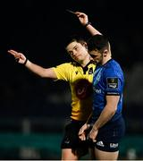 19 March 2021; Andrew Smith of Leinster is shown a yellow card by referee Chris Busby during the Guinness PRO14 match between Leinster and Ospreys at RDS Arena in Dublin. Photo by Brendan Moran/Sportsfile
