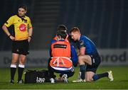 19 March 2021; Ciarán Frawley of Leinster receives medical attention for an injury during the Guinness PRO14 match between Leinster and Ospreys at RDS Arena in Dublin. Photo by Piaras Ó Mídheach/Sportsfile