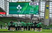 20 March 2021; Ireland head coach Andy Farrell speaks to his team ahead of the Guinness Six Nations Rugby Championship match between Ireland and England at Aviva Stadium in Dublin. Photo by Brendan Moran/Sportsfile