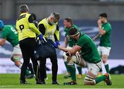 20 March 2021; Iain Henderson of Ireland is attended to by Ireland team doctor Dr Ciaran Cosgrave during the Guinness Six Nations Rugby Championship match between Ireland and England at Aviva Stadium in Dublin. Photo by Brendan Moran/Sportsfile