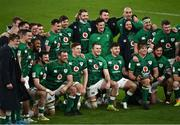 20 March 2021; The Ireland team following their victory in the Guinness Six Nations Rugby Championship match between Ireland and England at the Aviva Stadium in Dublin. Photo by Ramsey Cardy/Sportsfile