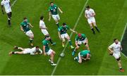 20 March 2021; Ireland players, from left, Iain Henderson, Rob Herring, Jack Conan, Conor Murray and Josh van der Flier celebrate a try by Keith Earls during the Guinness Six Nations Rugby Championship match between Ireland and England at the Aviva Stadium in Dublin. Photo by Ramsey Cardy/Sportsfile