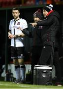 20 March 2021; Dundalk coach Filippo Giovagnoli, right, and Dundalk team manager Shane Keegan speak with substitute Michael Duffy during the SSE Airtricity League Premier Division match between Sligo Rovers and Dundalk at The Showgrounds in Sligo. Photo by Stephen McCarthy/Sportsfile