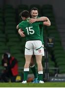 20 March 2021; Ireland captain Jonathan Sexton celebrates with teammate Hugo Keenan after the Guinness Six Nations Rugby Championship match between Ireland and England at Aviva Stadium in Dublin. Photo by Brendan Moran/Sportsfile