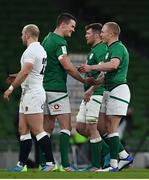 20 March 2021; Ireland captain Jonathan Sexton celebrates with teammate Keith Earls after the Guinness Six Nations Rugby Championship match between Ireland and England at Aviva Stadium in Dublin. Photo by Brendan Moran/Sportsfile