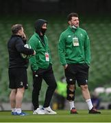 20 March 2021; Ireland players Billy Burns, centre, and Will Connors with Ireland skills & kicking coach Richie Murphy prior to the Guinness Six Nations Rugby Championship match between Ireland and England at the Aviva Stadium in Dublin. Photo by Ramsey Cardy/Sportsfile