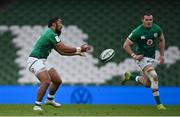 20 March 2021; Bundee Aki, left, and Jacob Stockdale of Ireland during the Guinness Six Nations Rugby Championship match between Ireland and England at the Aviva Stadium in Dublin. Photo by Ramsey Cardy/Sportsfile
