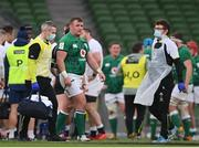 20 March 2021; Dave Kilcoyne of Ireland is assisted from the pitch by team doctor Dr Ciaran Cosgrave during the Guinness Six Nations Rugby Championship match between Ireland and England at the Aviva Stadium in Dublin. Photo by Ramsey Cardy/Sportsfile