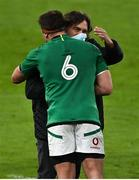 20 March 2021; IRFU Performance Director David Nucifora congratulates CJ Stander after the Guinness Six Nations Rugby Championship match between Ireland and England at Aviva Stadium in Dublin. Photo by Brendan Moran/Sportsfile