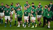 20 March 2021; Ireland players, from left, Jack Conan, Tadhg Furlong, Peter O'Mahony, Bundee Aki, Ryan Baird, Craig Casey, Keith Earls, Tadhg Beirne, Billy Burns, Hugo Keenan, Conor Murray, Andrew Porter, Jordan Larmour, Finlay Bealham, Ed Byrne and Josh van der Flier celebrate after the Guinness Six Nations Rugby Championship match between Ireland and England at Aviva Stadium in Dublin. Photo by Brendan Moran/Sportsfile