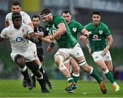 20 March 2021; Iain Henderson of Ireland breaks away from Maro Itoje of England during the Guinness Six Nations Rugby Championship match between Ireland and England at Aviva Stadium in Dublin. Photo by Brendan Moran/Sportsfile