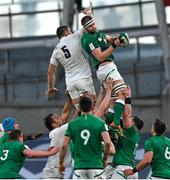 20 March 2021; Iain Henderson of Ireland wins a lineout from Charlie Ewels of England during the Guinness Six Nations Rugby Championship match between Ireland and England at Aviva Stadium in Dublin. Photo by Brendan Moran/Sportsfile