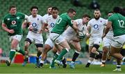 20 March 2021; George Ford of England is tackled by Jonathan Sexton of Ireland during the Guinness Six Nations Rugby Championship match between Ireland and England at Aviva Stadium in Dublin. Photo by Brendan Moran/Sportsfile