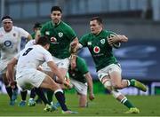 20 March 2021; Jacob Stockdale of Ireland in action against Ben Youngs of England during the Guinness Six Nations Rugby Championship match between Ireland and England at Aviva Stadium in Dublin. Photo by Brendan Moran/Sportsfile