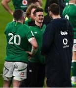 20 March 2021; Billy Burns of Ireland, centre, speaks with Peter O'Mahony and Iain Henderson after the Guinness Six Nations Rugby Championship match between Ireland and England at Aviva Stadium in Dublin. Photo by Brendan Moran/Sportsfile