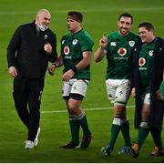 20 March 2021; Ireland players, from left, Rhys Ruddock, CJ Stander, Jack Conan and Tadhg Furlong celebrate after the Guinness Six Nations Rugby Championship match between Ireland and England at Aviva Stadium in Dublin. Photo by Brendan Moran/Sportsfile